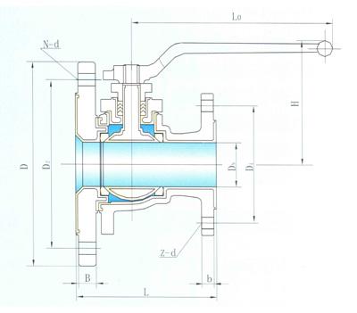 其结构形式为浮动直通式,连接形式为法兰,阀外壳采用碳钢内衬氟塑料